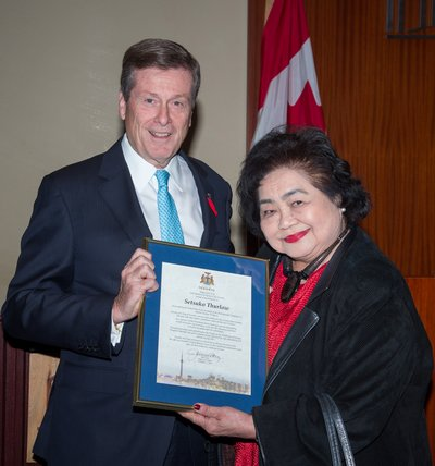 Mayor John Tory and nuclear activist Setsuko Thurlow