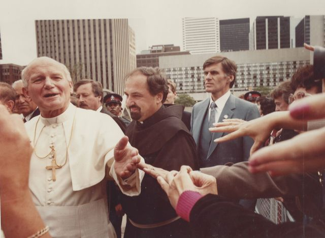 Pope John Paul II at the 1984 dedication of the Toronto Peace Garden