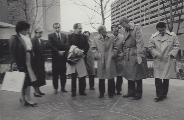 Setsuko Thurlow, Father Lombardi and Mayor Art Eggleton greet Mayor Makimoto from Fukuyama in October 1984
