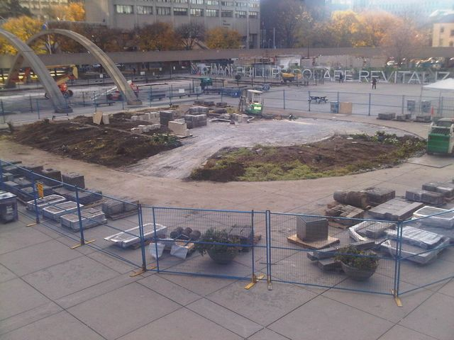 The demolition of the original Peace Garden in 2010 as a result of the Nathan Phillips Square Revitalization