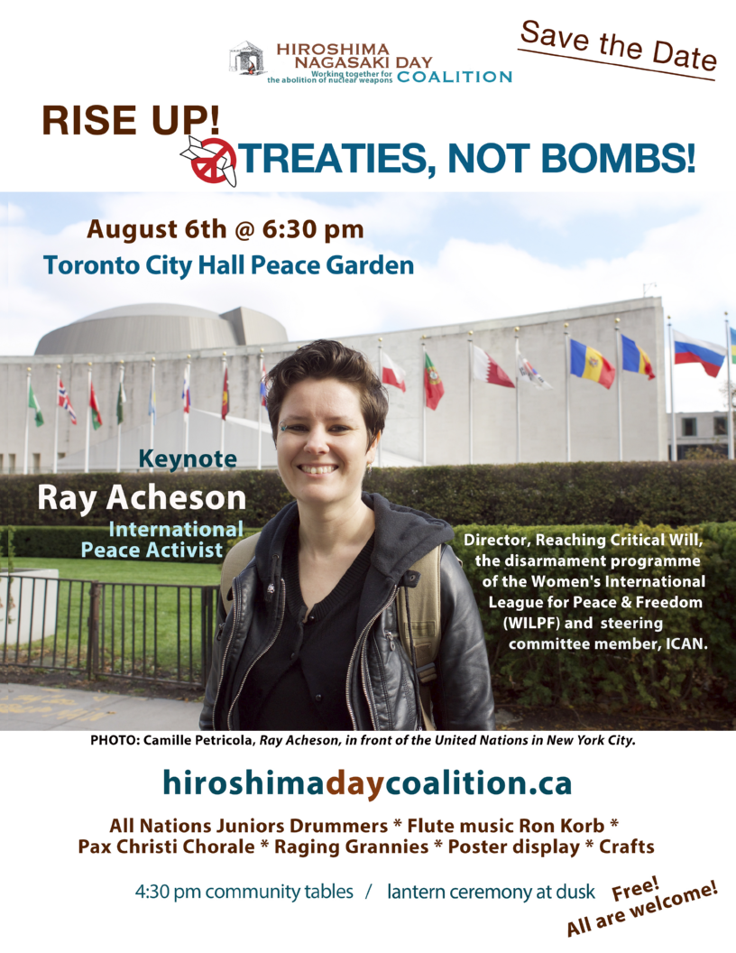 Anti-nuclear activist Ray Acheson is keynote speaker at Hiroshima/Nagasaki Day commemorations on 6 August 2019