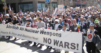 Abolish all nuclear weapons banner