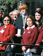 Setsuko Thurlow, Hiroshima atomic bombing survivor, Father Massey Lombardi, and students during the Peace Garden celebrations on September 29/2009. Thurlow & Lombardi were instrumental in helping to establish the Toronto Peace Garden in 1984